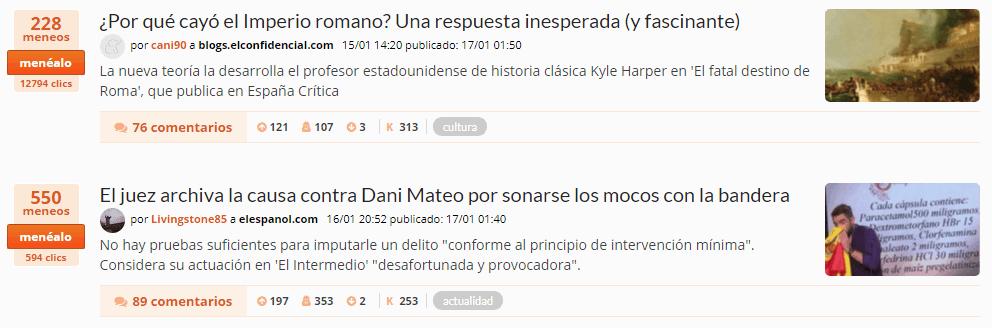 2 noticias de meneame.net