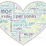 Corazón con las palabras de los artículos relacionados con el amor